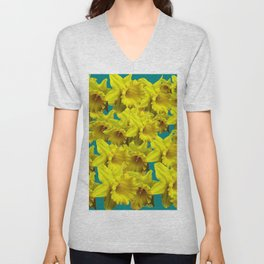 YELLOW SPRING DAFFODILS ON TEAL COLOR ART Unisex V-Neck