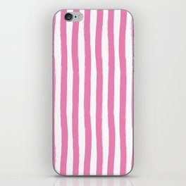 Pink and White Cabana Stripes Palm Beach Preppy iPhone Skin