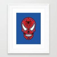 superheros Framed Art Prints featuring Spidey Sugar Skull by Clark Street Press