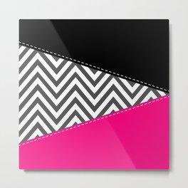 Zigzag Pattern, Chevron Pattern - Gray Pink Black Metal Print