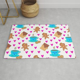Cute sweet gingerbread men cookies, chocolate bars, cups of hot cocoa, pink hearts winter pattern Rug