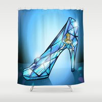shoe Shower Curtains featuring Cinderella Shoe by Chris Thompson, ThompsonArts.com