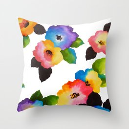 Watercolor Floral Multi Throw Pillow