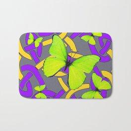 Lime Yellow Butterflies Purple-grey-gold Celtic Art Bath Mat