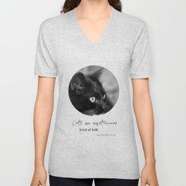 Black cat portrait and quote  Cat02 Unisex V-Neck