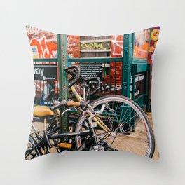 Brooklyn Bike II Throw Pillow