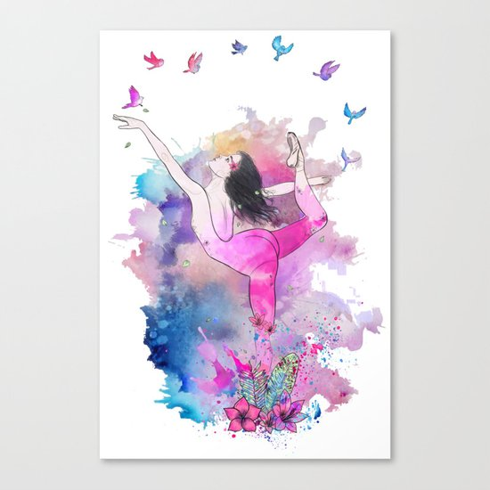Ballerina with birds Canvas Print