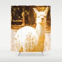 alpaca Shower Curtains featuring Alpaca yellowish. by Alejandra Triana Muñoz (Alejandra Sweet