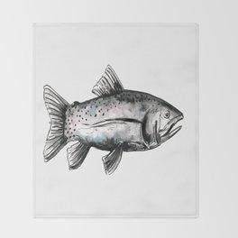 Fish-Black and White Throw Blanket