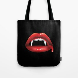 Vampire lips with blood Tote Bag
