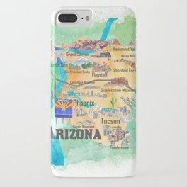 USA Arizona State Travel Poster Illustrated Art Map iPhone Case