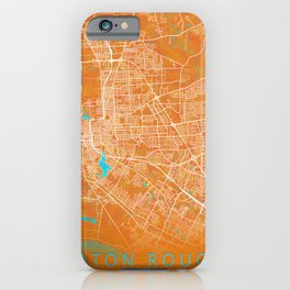 Baton Rouge, LA, USA, Gold, Blue, City, Map iPhone Case