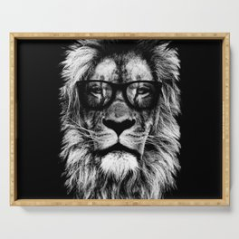 Hipster Lion Black Serving Tray