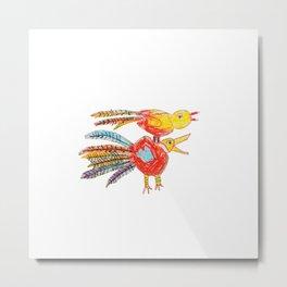 FLAMING BIRDS Metal Print