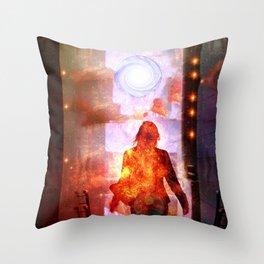 Her Infernal Exit Throw Pillow