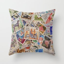 Stamps of the World Throw Pillow