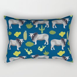 Brahman Cattle cactus southwest farm farming homestead animals Rectangular Pillow