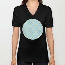 Yellow, Blue & Orange Plaid Pattern with Green Background Unisex V-Neck