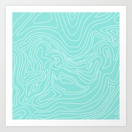 Ocean depth map - turquoise Art Print