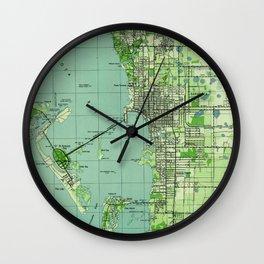 Vintage map of Sarasota Florida (1944) Wall Clock