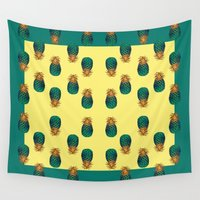pineapples Wall Tapestries featuring PINEAPPLES by Heaven7