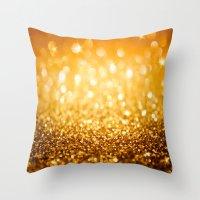 gold glitter Throw Pillows featuring Gold Glitter Texture by Robin Curtiss