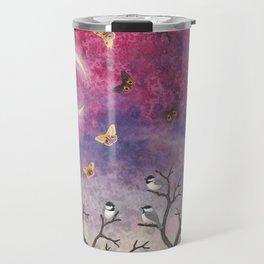 chickadees and io moths in the moonlit sky Travel Mug