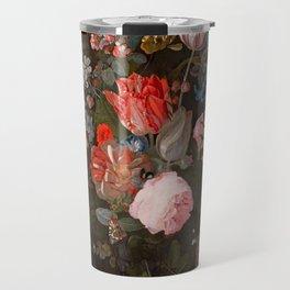 "Adriaen van der Spelt ""Still life of flowers on a stone ledge"" Travel Mug"