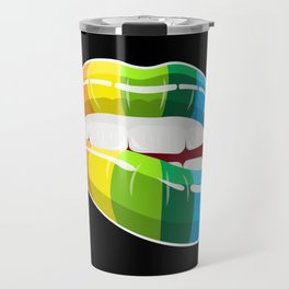 Rainbow Lips   LGBT Pride Travel Mug