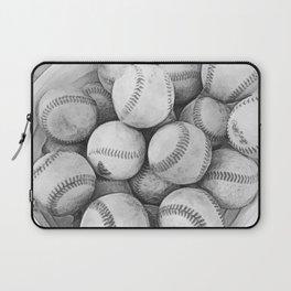 Bucket of Baseballs in Black and White Laptop Sleeve