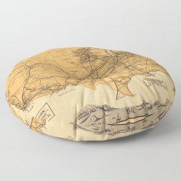 Greyhound Bus Line Map 1935 Floor Pillow