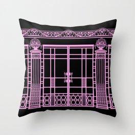 ART DECO, ART NOUVEAU IRONWORK: Pink on Black Throw Pillow