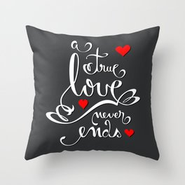 Valentine Love Calligraphy and Hearts V2 Throw Pillow