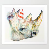 party Art Prints featuring Rhino's Party by Brandon Keehner