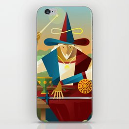 magician juggler with cup, wooden staff, sword and gold tarot card iPhone Skin