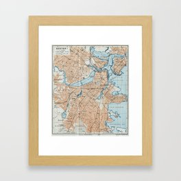 Vintage Map of Boston MA (1906) Framed Art Print