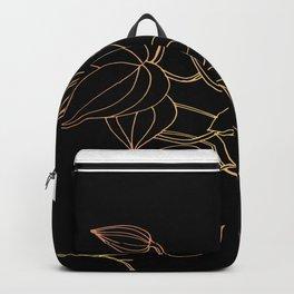 Floral in Rose Gold Gradient (on black) Backpack