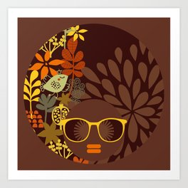 Afro Diva : Sophisticated Lady Retro Brown Art Print