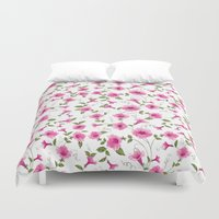 gift card Duvet Covers featuring vintage floral card by Kotkoa