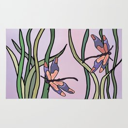 dragonflies in  a pastel color background Rug