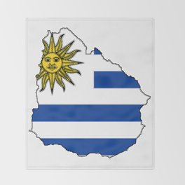 Uruguay Map with Uruguayan Flag Throw Blanket