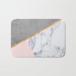 Marble Blush Gold gray Geometric Bath Mat