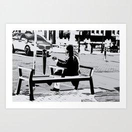 Busking - Guitar Player Art Print