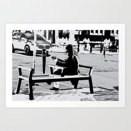 Busking - Guitar Player Art Print