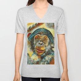 AnimalArt_Chimpanzee_20170602_by_JAMColorsSpecial Unisex V-Neck