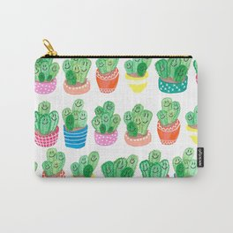 Cacti in fancy pots with smily faces. Carry-All Pouch