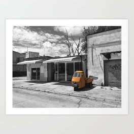 Black and White Photography of an Orange Vespa Ape in Italy Art Print