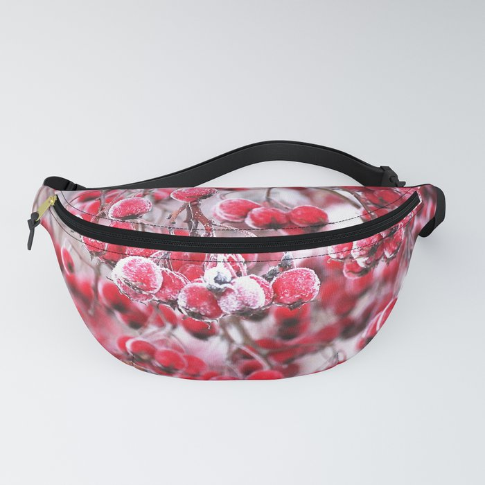 Icy Rowan Red Berries Winter Scene #decor #society6 #buyart Fanny Pack