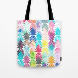 Hawaiian Pineapple Pattern Tropical Watercolor Tote Bag