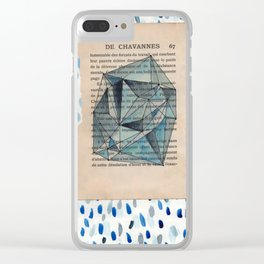 Indigo Watercolor Facets Clear iPhone Case